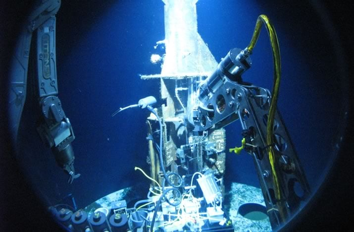 Under sea research as viewed from iside an Alvin submersible.